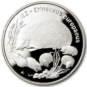 1996 Poland Silver 20 Zlotych Hedgehogs Proof
