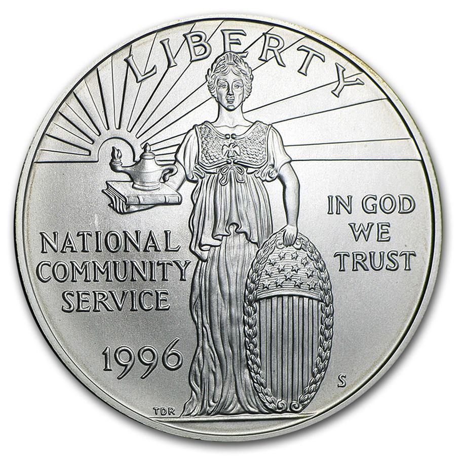 1996-S Community Service $1 Silver Commem BU (Capsule Only)