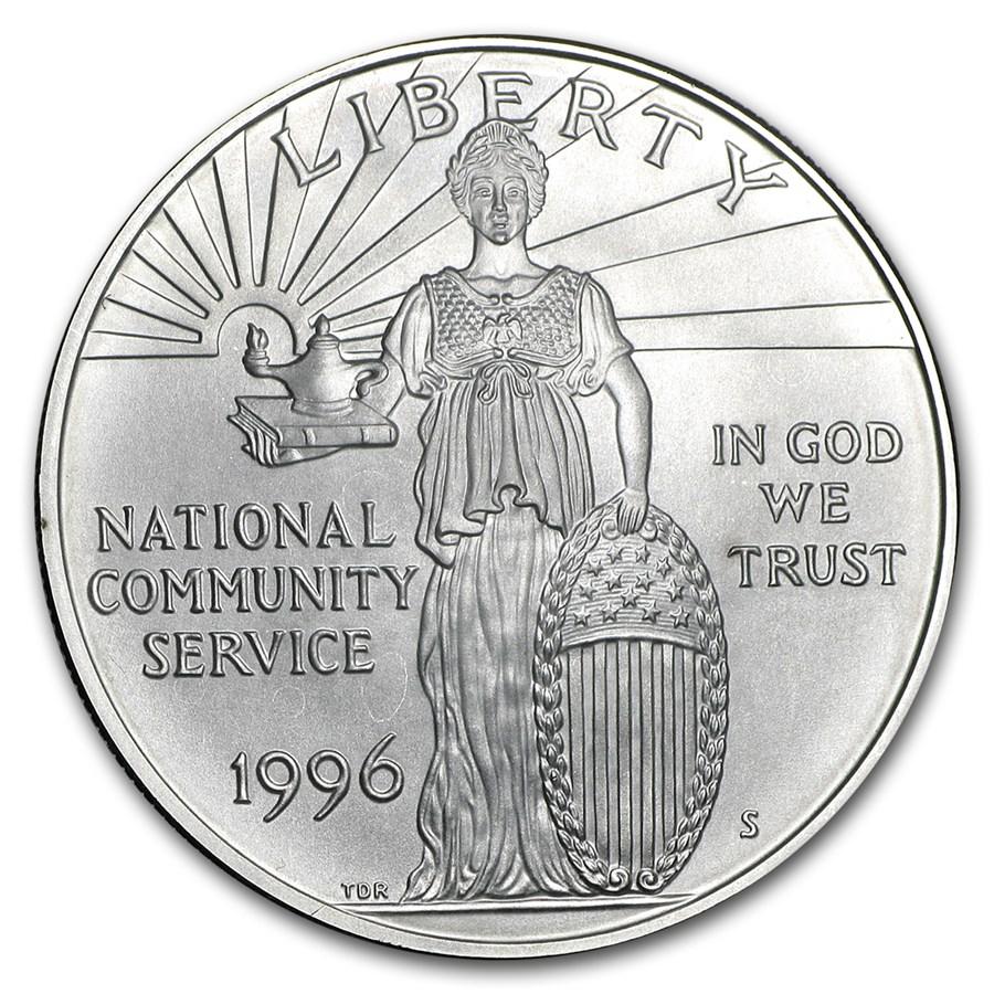 1996-S Community Service $1 Silver Commem BU (w/Box & COA)