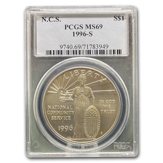 1996-S Community Service $1 Silver Commem MS-69 PCGS