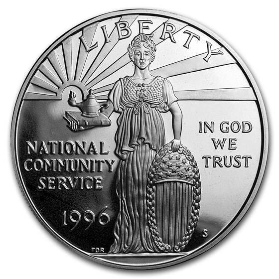 1996-S Community Service $1 Silver Commem Proof (w/Box & COA)