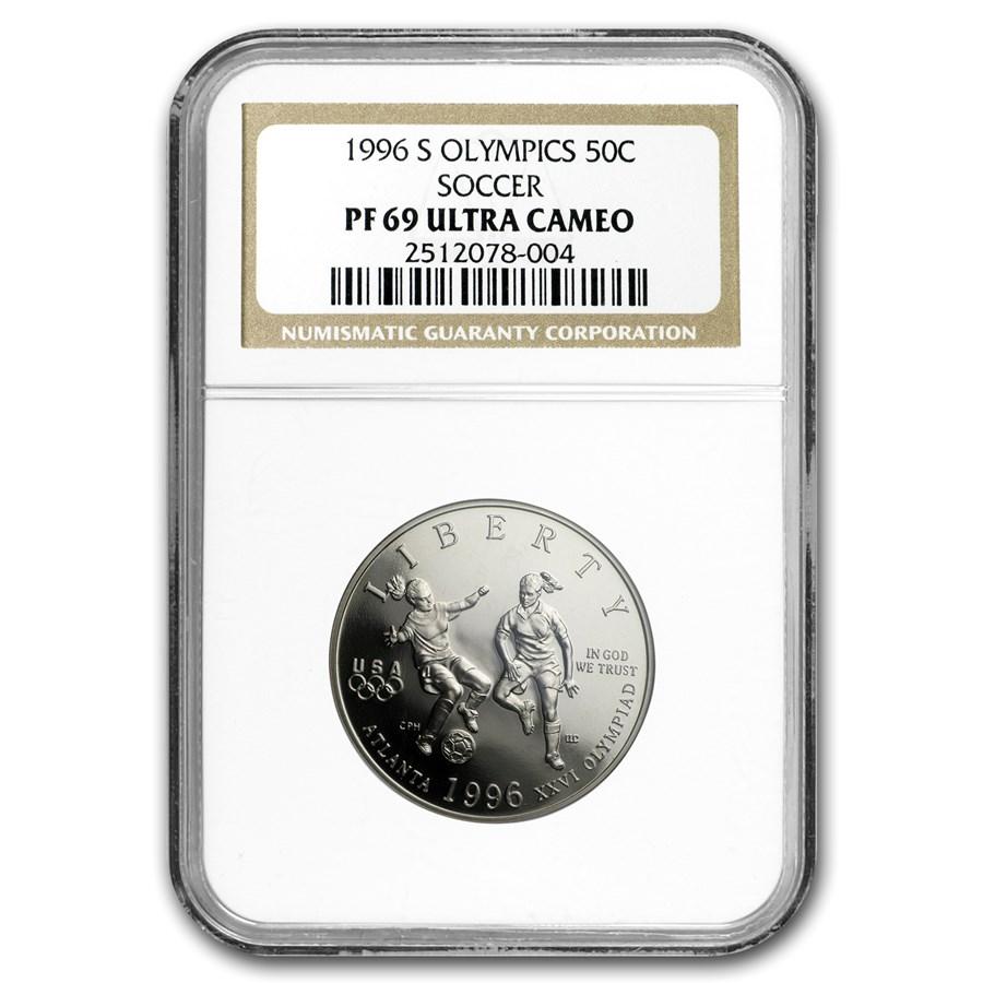 1996-S Olympic Soccer 1/2 Dollar Clad Commem PF-69 NGC