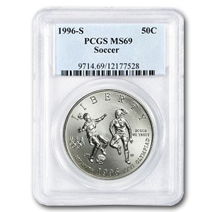 1996-S Olympics 1/2 Dollar Clad Commem MS-69 PCGS (Soccer)