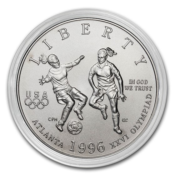 1996-S Olympics 1/2 Dollar Clad Commem Soccer BU (Capsule Only)