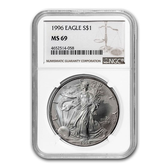 1996 Silver American Eagle MS-69 NGC (Spotted)