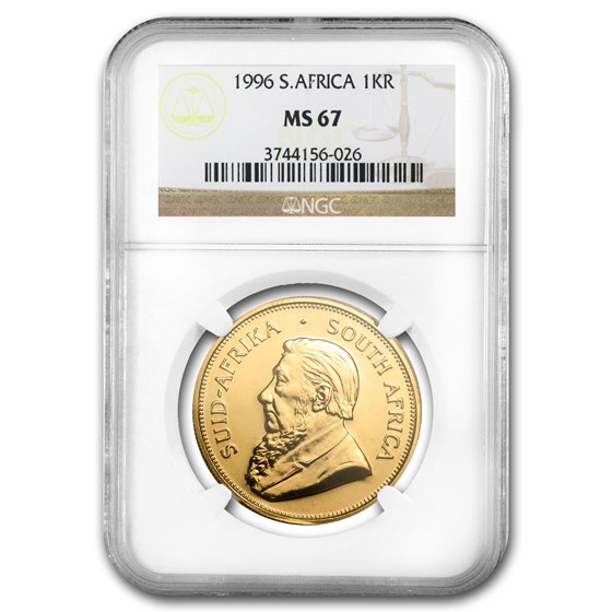 1996 South Africa 1 oz Gold Krugerrand MS-67 NGC