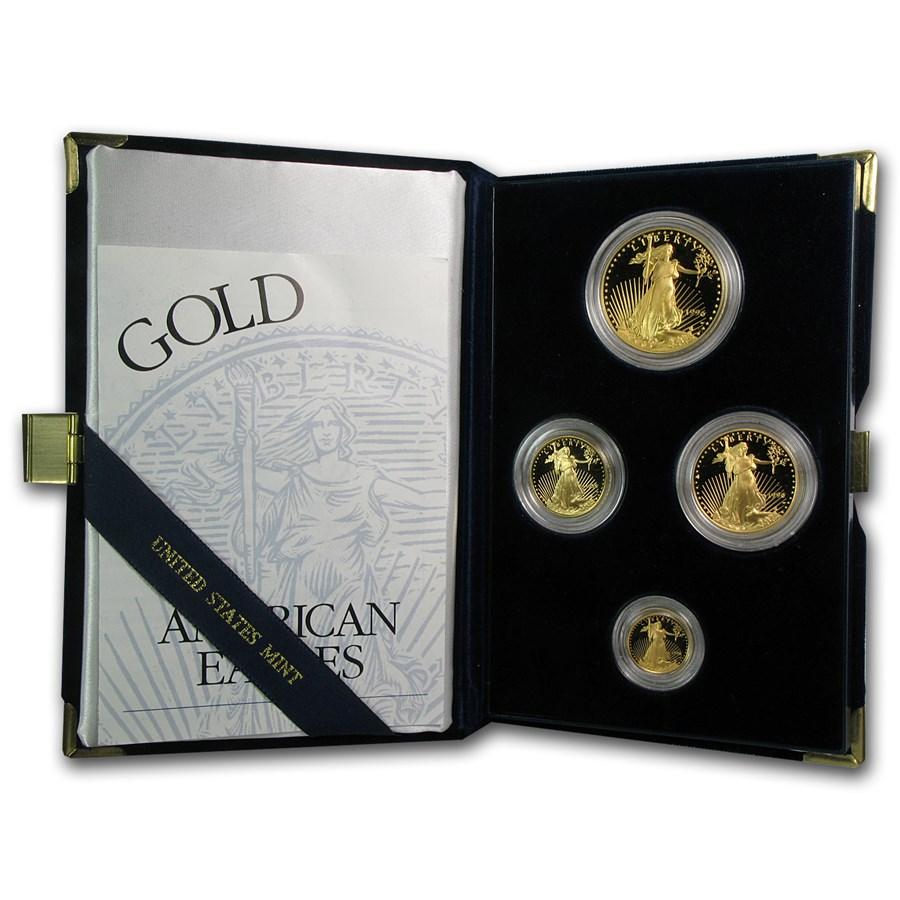 1996-W 4-Coin Proof American Gold Eagle Set (w/Box & COA)