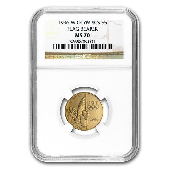 1996-W Gold $5 Commem Flag Bearer MS-70 NGC