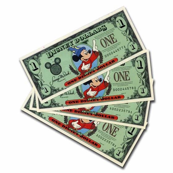 1997 $1.00 Disney World Sorcerer Mickey Gem CCU (4 Consecutive)