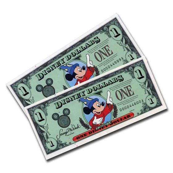 1997 $1.00 Disney World Sorcerer Mickey Gem CCU(2 Consecutive)