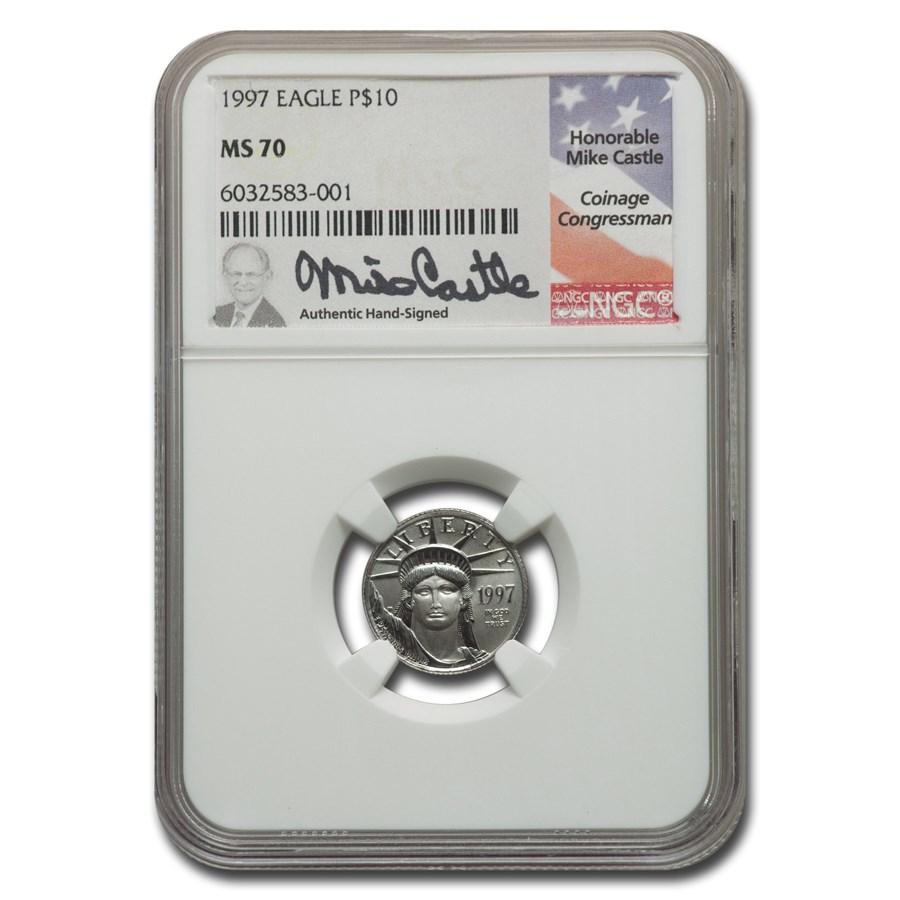 1997 1/10 oz American Platinum Eagle MS-70 NGC (Castle)