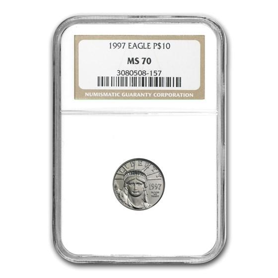 1997 1/10 oz American Platinum Eagle MS-70 NGC