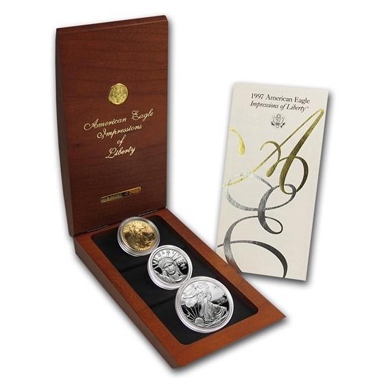 1997 3-Coin Proof Impressions of Liberty Set (Signed, Box & COA)