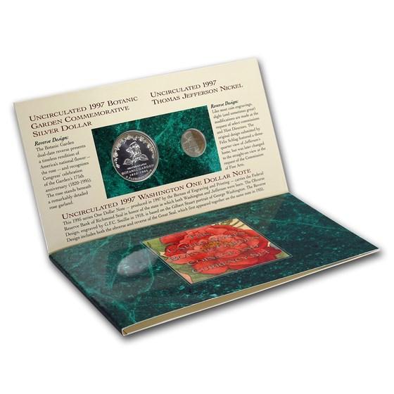 1997 3-Pc Botanic Garden Coin & Currency Set (Original Packaging)