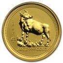 1997 Australia 1/10 oz Gold Lunar Ox BU (Series I)