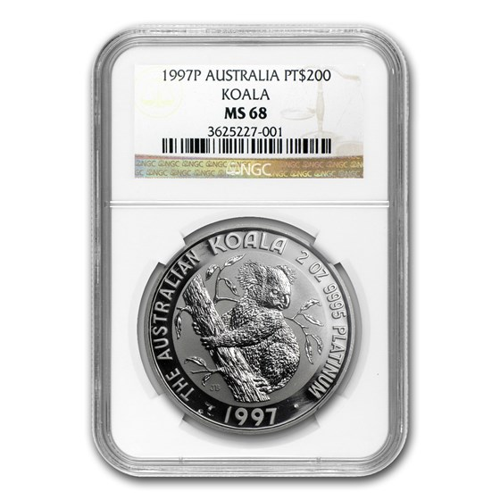 1997 Australia 2 oz Platinum Koala MS-68 NGC