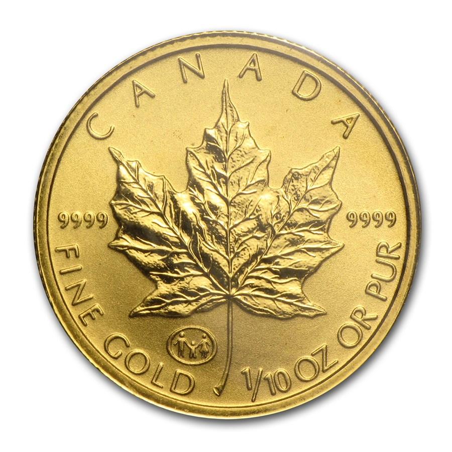 1997 Canada 1/10 oz Gold Maple Leaf BU (Family Privy)