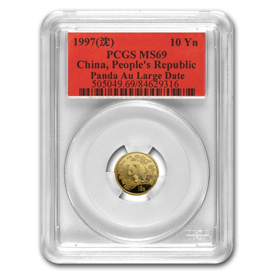 1997 China 1/10 oz Gold Panda MS-69 PCGS (Large Date)
