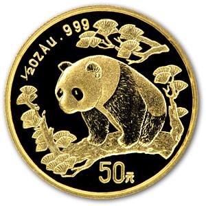 1997 China 1/2 oz Gold Panda Small Date BU (Sealed)