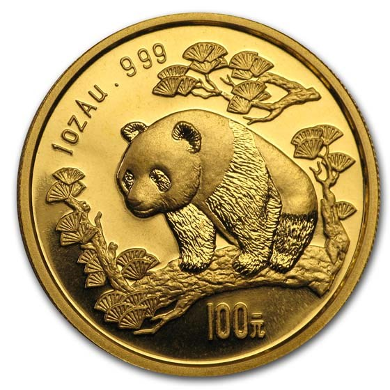 1997 China 1 oz Gold Panda Small Date BU (In Capsule)