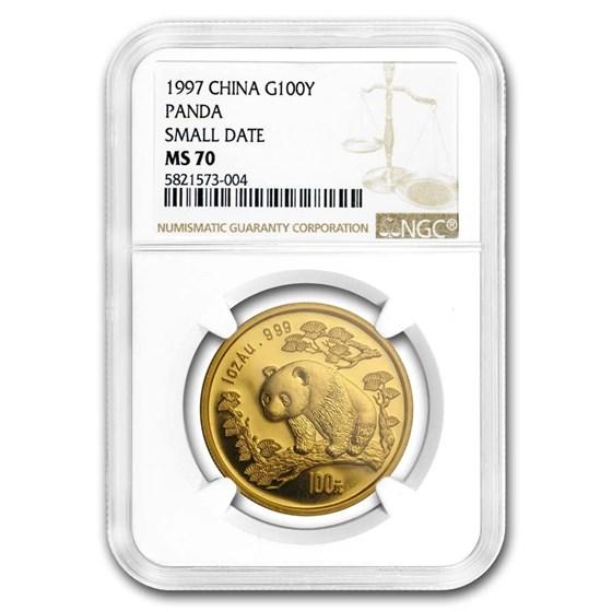 1997 China 1 oz Gold Panda Small Date MS-70 NGC