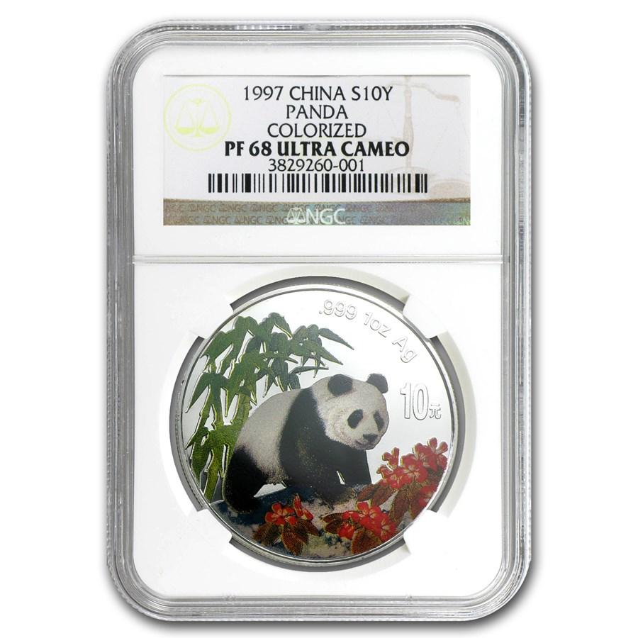 1997 China 1 oz Silver Panda PF-68 NGC (Colorized)