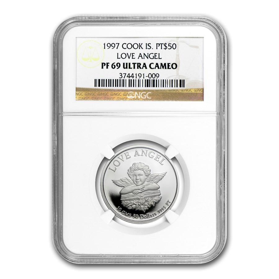 1997 Cook Islands 10 gram Platinum Love Angel PF-69 NGC