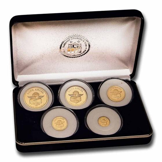 1997 Cook Islands 5-Coin Gold Love Angel Proof Set (1.083 oz)