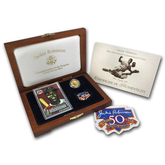1997 Gold $5 Commem Jackie Robinson Pf Legacy Set (w/Box & COA)