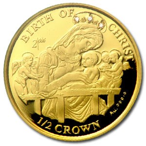 1997 Isle of Man 1/2 Crown Proof Gold Madonna and Child