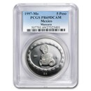 1997 Mexico 1 oz Silver 5 Pesos Mascara PR-69 PCGS