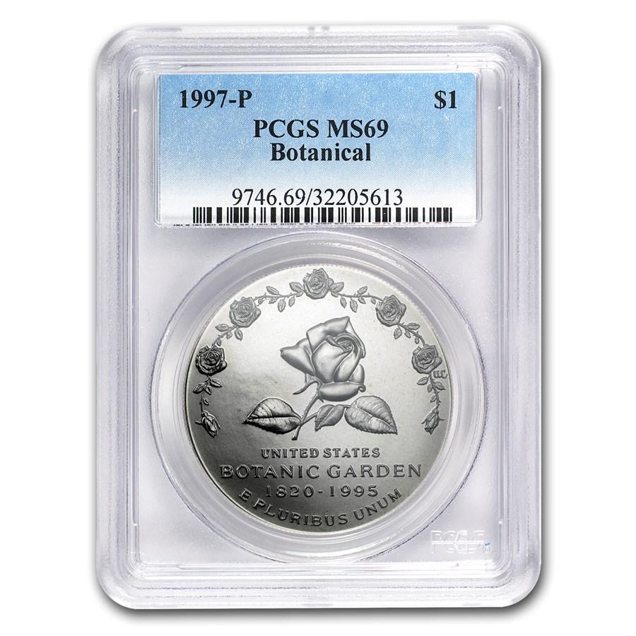 1997-P Botanical Garden $1 Silver Commem MS-69 PCGS