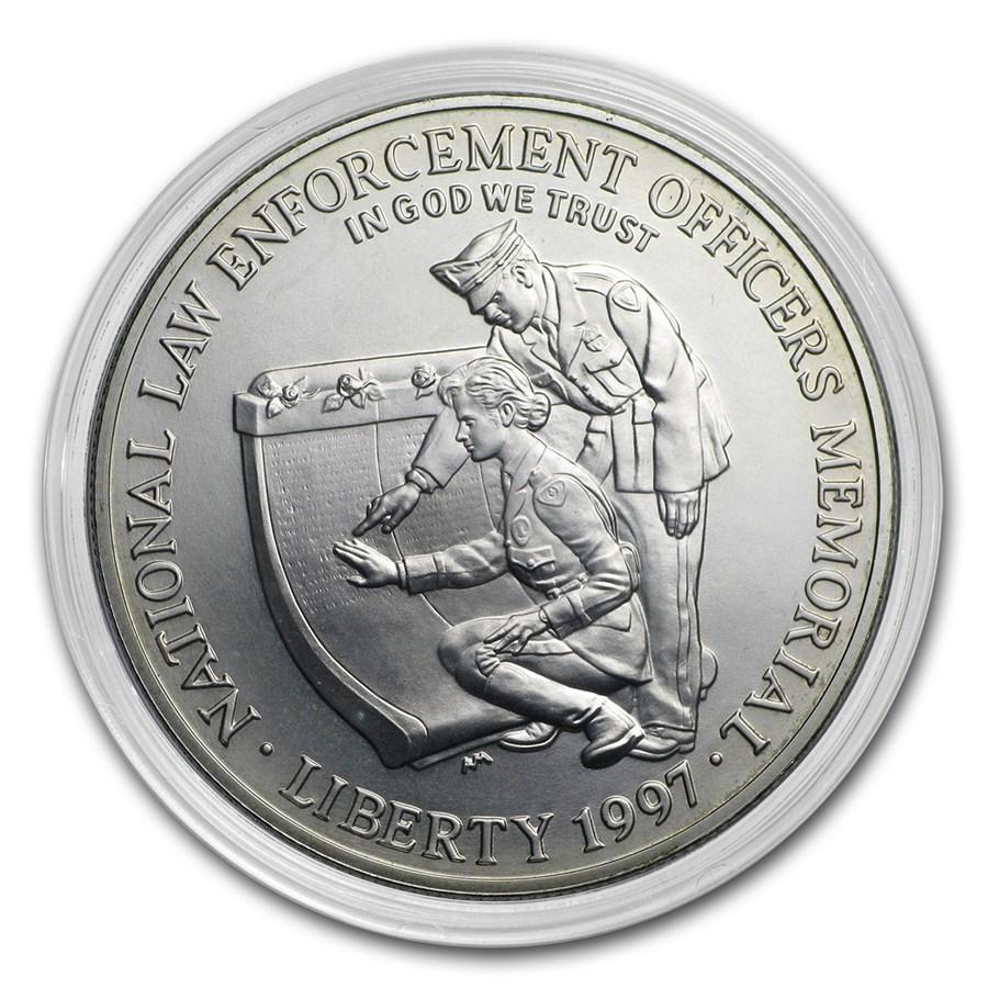 1997-P Law Enforcement $1 Silver Commem BU (Capsule only)