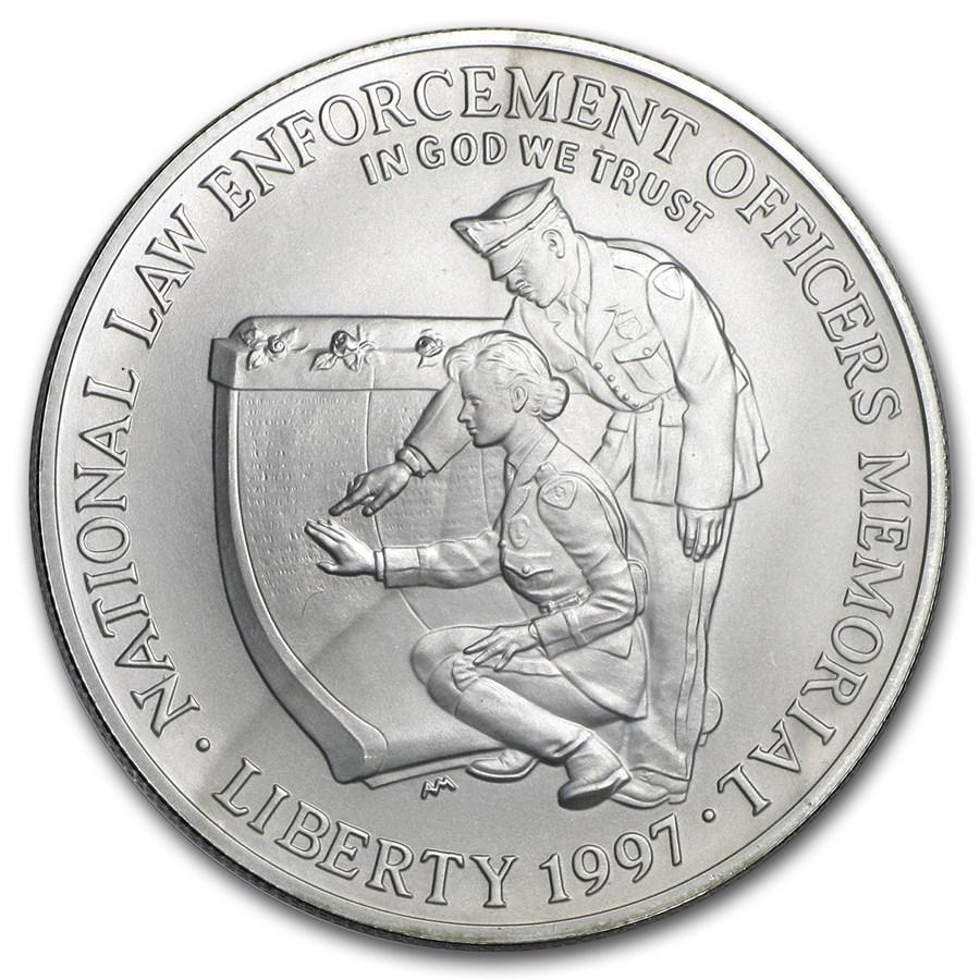 1997-P Law Enforcement $1 Silver Commem BU (w/Box & COA)