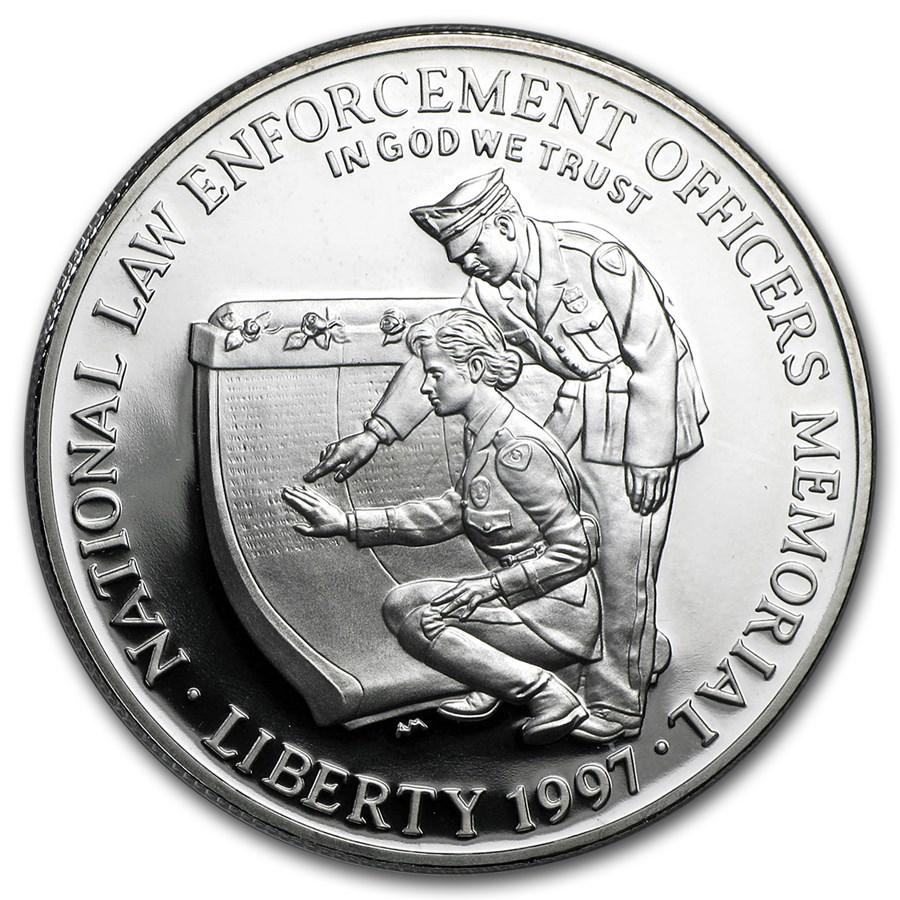 1997-P Law Enforcement $1 Silver Commem Proof (w/Box & COA)
