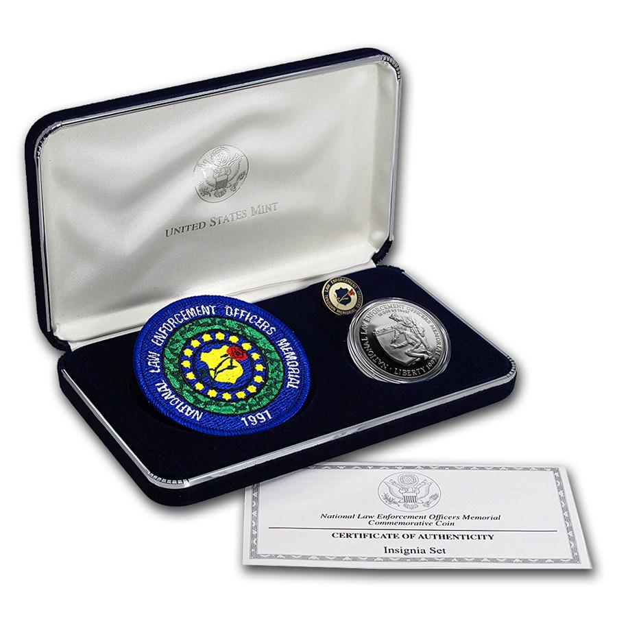 1997-P Law Enforcement $1 Silver Commem Proof (w/Patch & Pin)