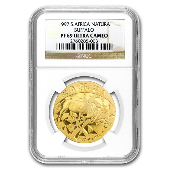 1997 South Africa 1 oz Gold Natura 100 Rand Buffalo PF-69 NGC