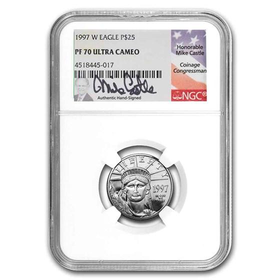 1997-W 1/4 oz Proof Platinum Eagle PF-70 NGC (Castle Signed)
