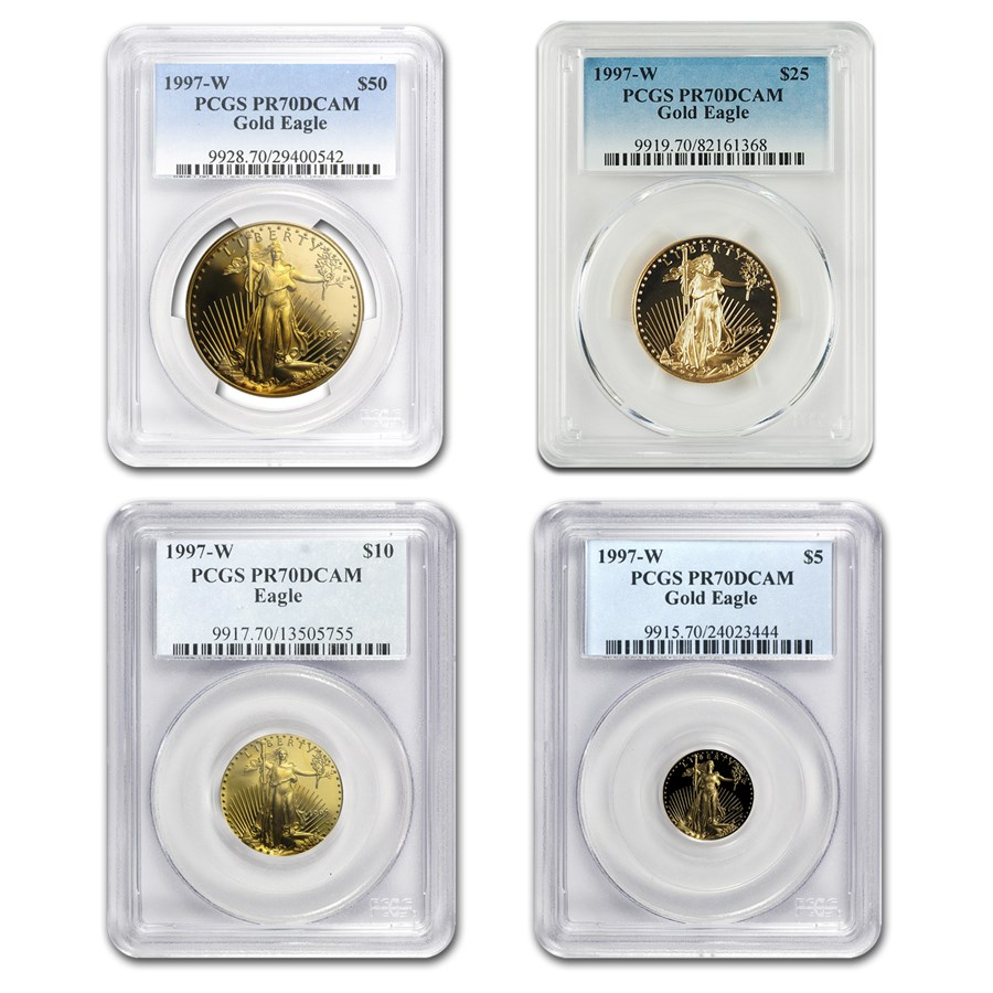 1997-W 4-Coin Proof American Gold Eagle Set PR-70 PCGS