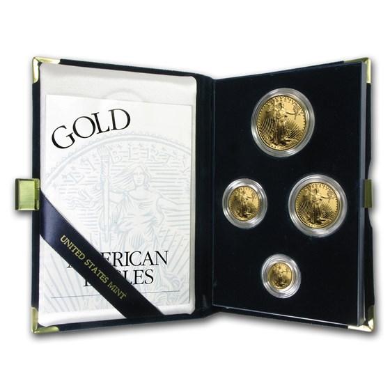 1997-W 4-Coin Proof American Gold Eagle Set (w/Box & COA)