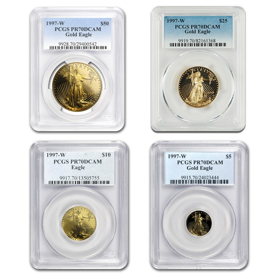 1997-W 4-Coin Proof Gold American Eagle Set PR-70 PCGS