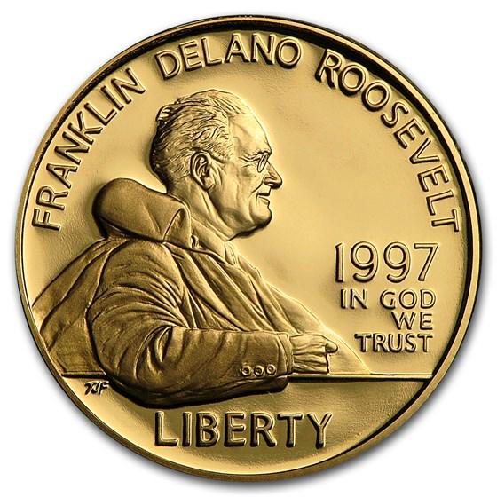 1997-W Gold $5 Commem Franklin D. Roosevelt Proof (w/Box & COA)
