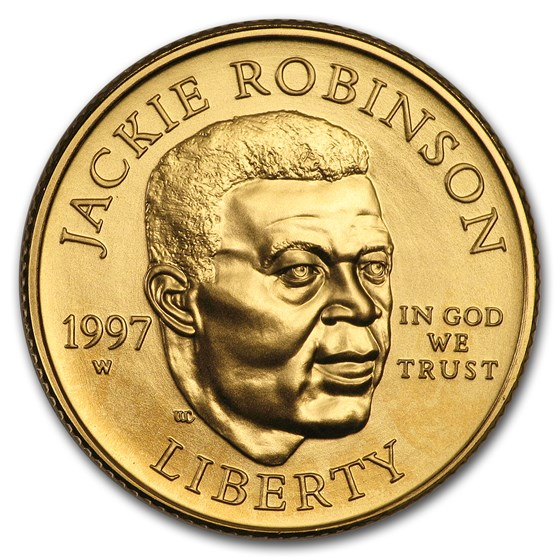 1997-W Gold $5 Commem Jackie Robinson BU (Capsule only)