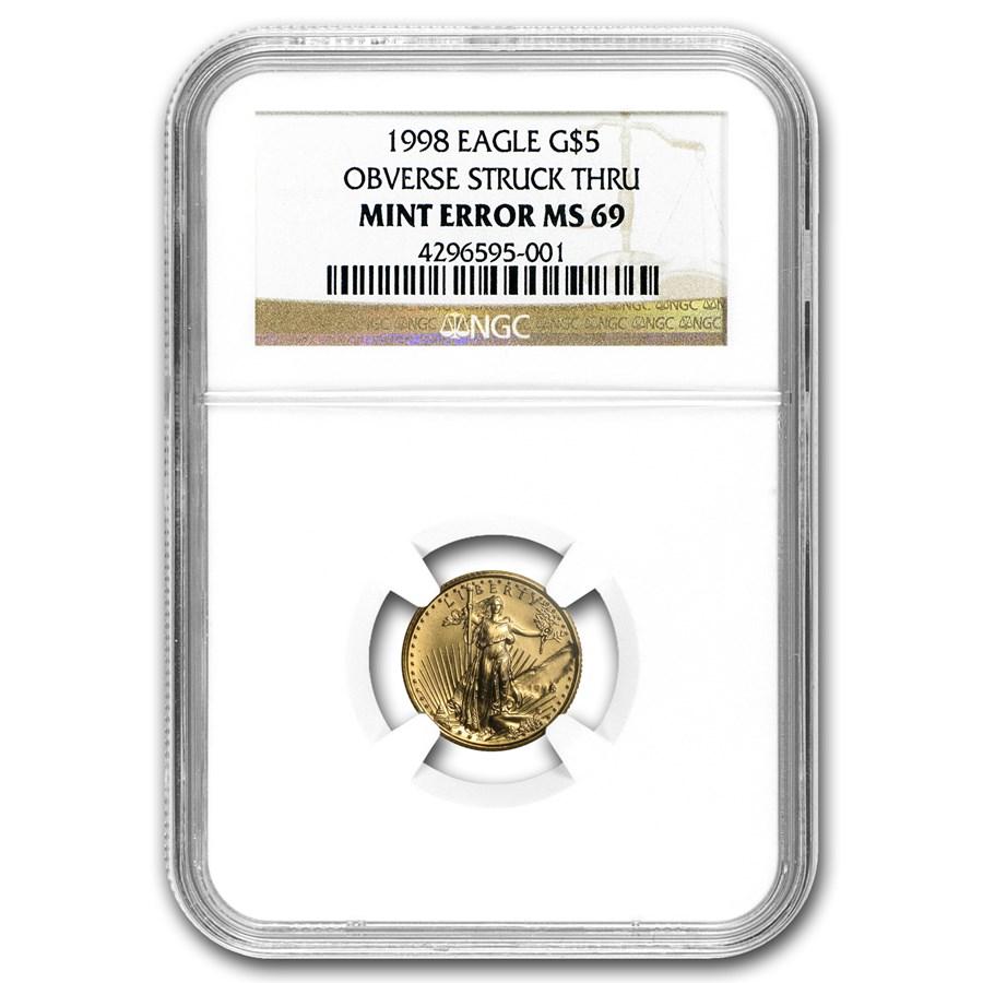 1998 1/10 oz American Gold Eagle MS-69 NGC (Major Mint Error)