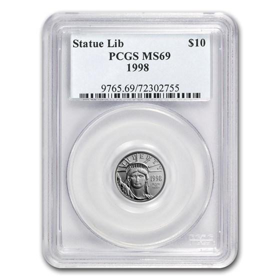 1998 1/10 oz American Platinum Eagle MS-69 PCGS
