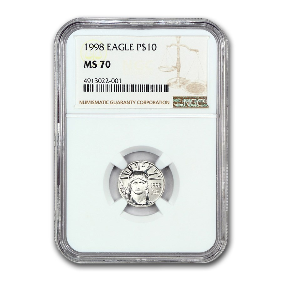 1998 1/10 oz Platinum American Eagle MS-70 NGC