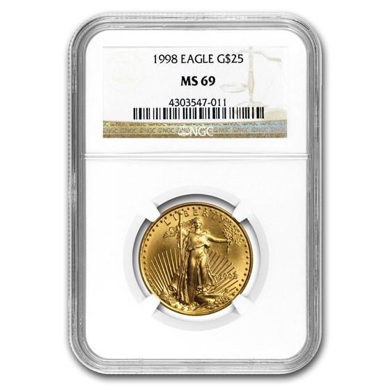 1998 1/2 oz American Gold Eagle MS-69 NGC