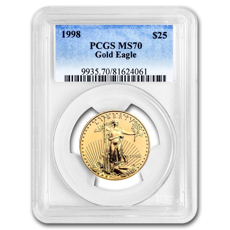 1998 1/2 oz American Gold Eagle MS-70 PCGS