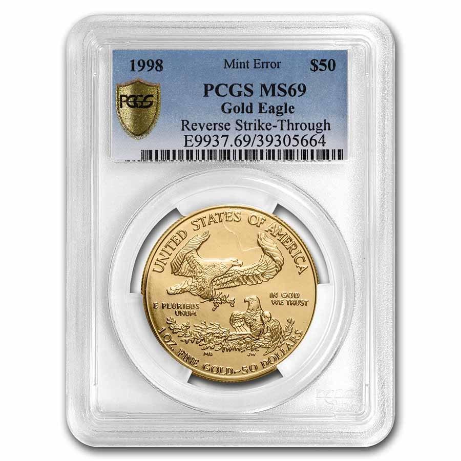 1998 1 oz American Gold Eagle MS-69 PCGS (Error, Rev Strike-Thru)