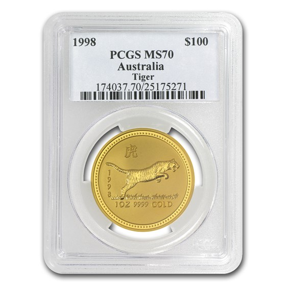 1998 1 oz Gold Lunar Year of the Tiger MS-70 PCGS (Series I)